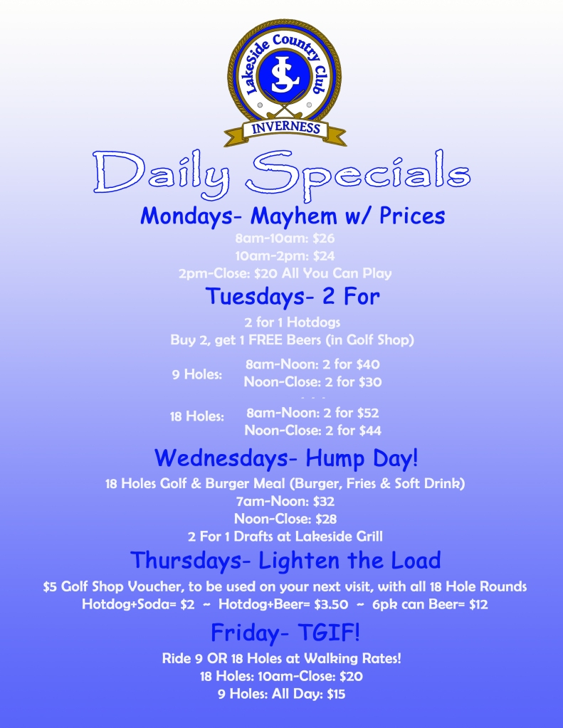 FINAL DAILY SPECIALS